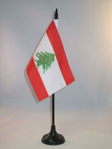 AZ FLAG Drapeau de Table Liban 15x10cm