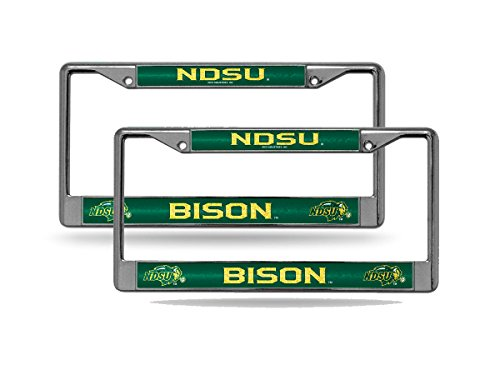 Rico North Dakota State NDSU Bison NCAA Glitter Bling Chrome (2) License Plate Frame Set ()