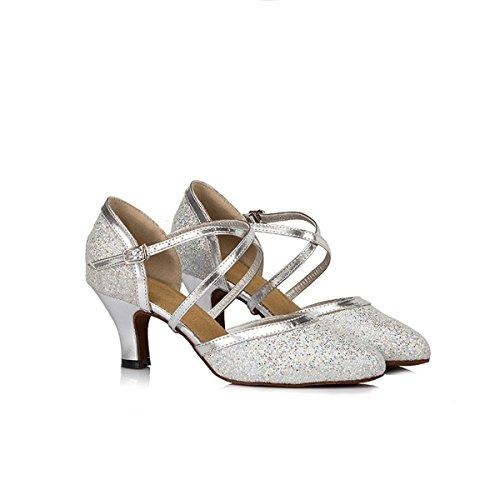 Miyoopark Womens Cinturino Alla Caviglia Glitter Fibbia Sintetica Sala Da Ballo Salsa Scarpe Da Ballo Latino X-strap / Argento