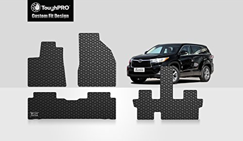 ToughPRO Floor Mats 1st + 2nd + 3rd Row Compatible with Toyota Highlander (Bucket Seats) - All Weather - Heavy Duty - (Made in USA) - Black Rubber - 2014, 2015, 2016, 2017, 2018, 2019, 2020