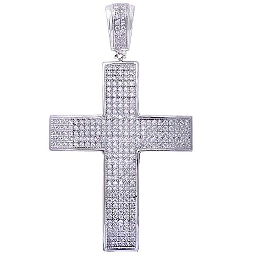 Oxford Diamond Co Hiphop Style Micro Pave Cubic Zirconia Cross .925 Sterling Silver Pendant