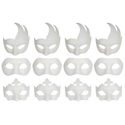 CSPRING 12PCS Cute Paper Face Paintable White Plain DIY Mask for Mardi Gras Cosplay Masquerade Dance Party]()