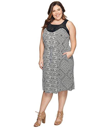 エコーチャート流出[ラッキーブランド] Lucky Brand レディース Plus Size Knit Macrame Dress ドレス Black Multi 3X (US 22W-24W) [並行輸入品]