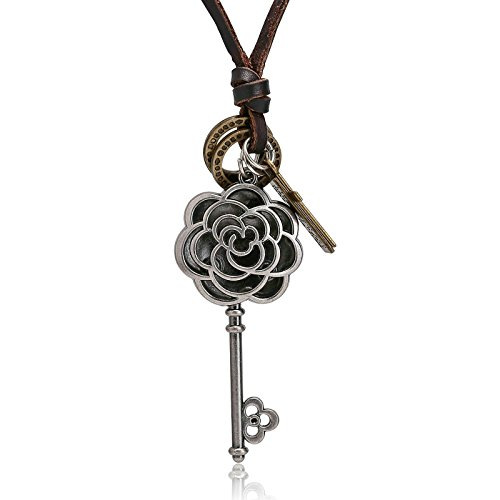 Jewelry Leather Neckalce for Mens Silver Key Pendant Womens Stainless Steel Necklace