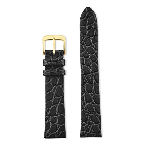 Speidel Genuine Leather Watch Band Classic Crocodile Grain 18mm Black Replacement Strap , Stainless Steel Metal Buckle Clasp, Watchband Fits Most Watch Brands by Speidel (Image #2)