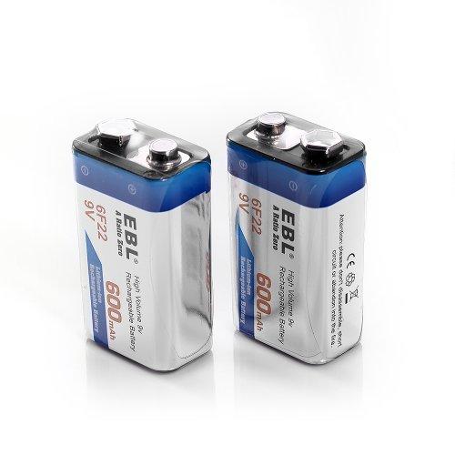 EBL 600mAh 9 Volt Li-ion Rechargeable 9V Batteries Lithium-ion, 2 Pack (Li Ion 9v Battery)