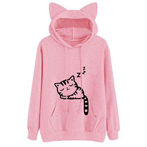 KingWo Harajuku Women Hoodies Sweatshirt Winter Cat Pattern Long Sleeve Hooded Sweatshirts Ear Hooed (Pink, (Tops By Harajuku Lovers)