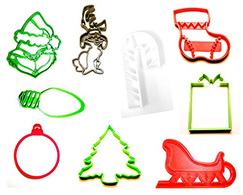 HOW THE GRINCH STOLE CHRISTMAS DR SEUSS MOVIE SET OF 9 SPECIAL OCCASION COOKIE CUTTERS BAKING TOOL 3D PRINTED MADE IN USA PR1119