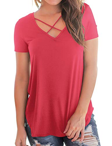 Women's T Shirts for Summer and Fall Soft Fabric Flowy Short Sleeve Tops Red XL