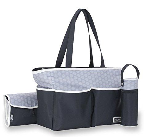 Graco Davis 3 Piece Diaper Bag Collection, Black/Grey