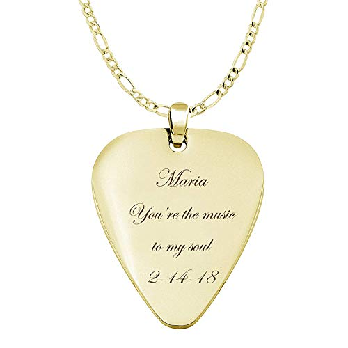 Personalized Gold Stainless Steel Guitar Pick Necklace Pendant Custom Engraved Free