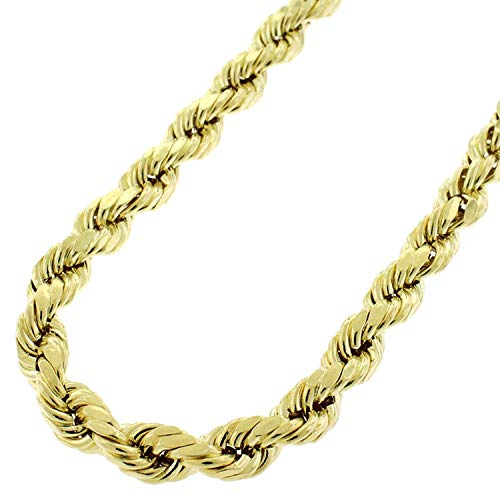 "10k Yellow Gold Hollow Rope Diamond-Cut Braided Twist Link Chain Necklace 2MM 3MM 4MM 5MM 5.5MM 6.5MM 7MM 8MM, 16"" - 32"", Men & Women, In Style Designz (6.5mm,24)"
