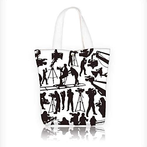 Canvas Tote Handbag The black silhoutte camcorders and cameramen on white background Shoulder Bag Purses For Men And Women Shopping Tote W16.5xH14xD7 INCH