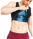 Sweat Shaper Men's Premium Workout Tank Top Slimming Polymer Sauna Vest for Weight Loss Tummy Fat Burning ,Black