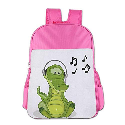 (School Bag Backpacks For Girl Boy Crocodile Listen To Music Children High School)