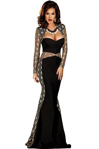Mesdames Long Noir et Or élégant en dentelle brodée Robe de soirée cocktail party Dance Club Wear Taille M UK 10–12–EU 38–40
