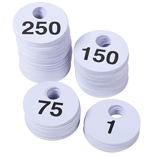 Juvale 500-Pack Reusable Plastic Coat Room Check Tags with Double-Sided Serial Numbers 1-250, 1.75 Inches
