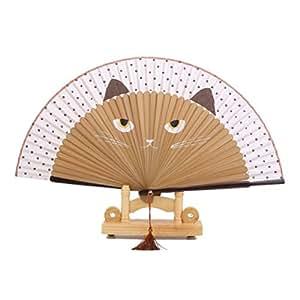 PIXNOR Silk Bamboo Cartoon Cat Folding Fan Hand Painted Fan (Brown)