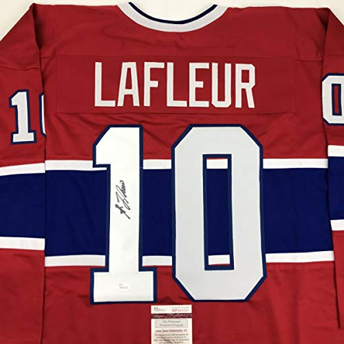 Autographed/Signed Guy LaFleur Montreal Red Hockey Jersey JSA COA (Montreal Canadiens Replica Jersey)