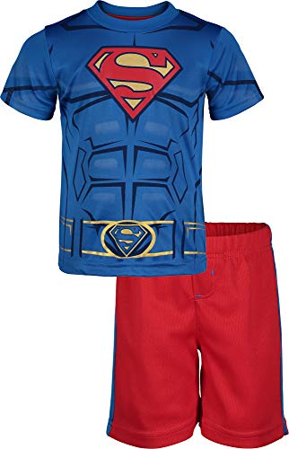 Warner Bros. Superman Toddler Boys' Athletic Performance T-Shirt & Mesh Shorts Set, Blue/Red (4T) -