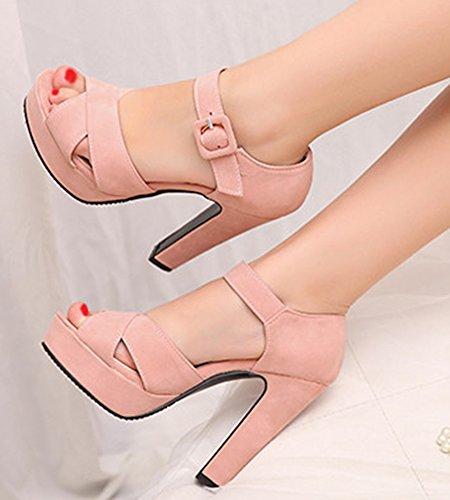 Plateforme Talon Sexy Rose Femme Aisun Sandales Bloc Pp7wCvcxq