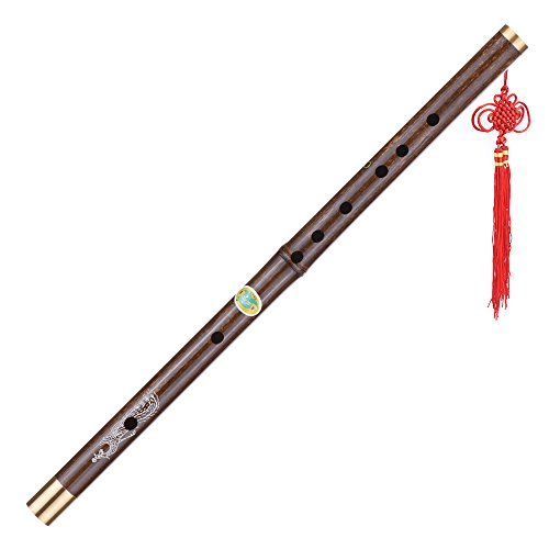 ammoon Black Bamboo Dizi Flute Traditional Handmade Chinese Musical Woodwind Instrument Key of C