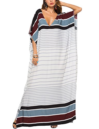 Bsubseach Women Batwing Sleeve Beach Stripe Plus Size Kaftan Maxi Dress Summer Bathing Suit Cover Up Dress Caftan Robe