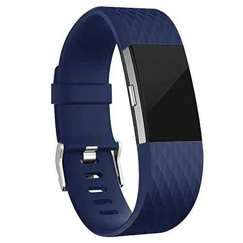 iGK Replacement Bands Compatible for Fitbit Charge 2, Adjustable Replacement Bands with Metal Clasp Special Edition Navy Small