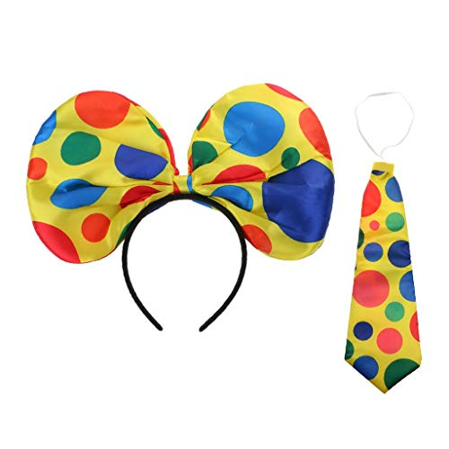KODORIA Clown Costume Props Funny Fancy Dress Jumbo Polka Dots Tie + Bow Headband Circus Party Fancy Dress Up]()
