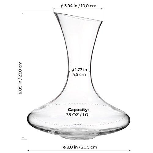 Luxbe - Wine Decanter 54-ounce - 100% Hand Blown Lead-free Crystal Glass - Sturdy Red Wine Carafe Pitcher Aerator Pourer by Luxbe (Image #4)