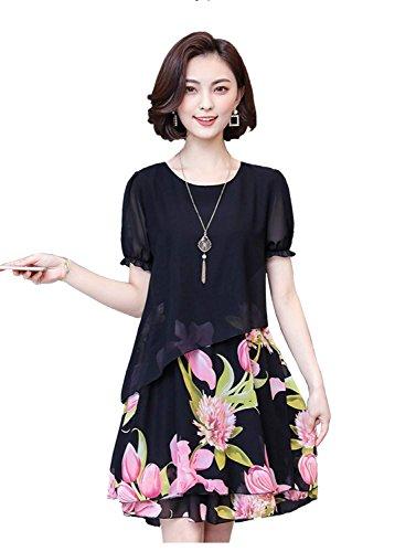 Hapyy ワンピース 花柄 ワンピ レディース シフォン チュニック 半袖 M~5XL