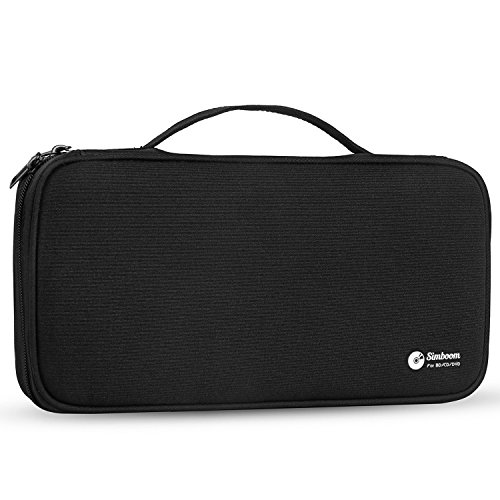 Simboom CD/DVD Holder 96 Capacity Storage Case with Portable Handle, Waterproof CD Wallet Bag Disc Organizer (Black)