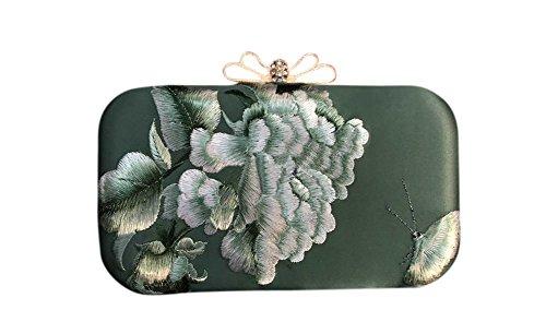 100% fait à la main sac à main sac à main d'embrayage - fine broderie orientale Art # 302 Vert foncé