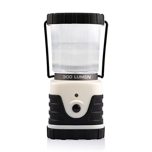 LEDMO LED Camp Lantern, Led Outdoor Lantern, Water Resistant Camp Light, 300lm, 3 Modes, Battery Powered, Camping Light, Emergency Lamp for Hiking, Black and White
