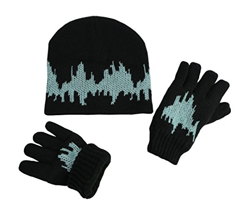 N'Ice Caps Boys Youth Warm Hat and Fleece Lined Gloves Winter Snow Set (2 Ply Knit/Neon Blue Glows in the Dark, 8-12 Years)