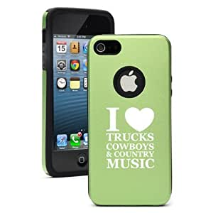 Apple iPhone 4 4s Aluminum & Silicone Case Cover Love Trucks Cowboys Country Music (Green)