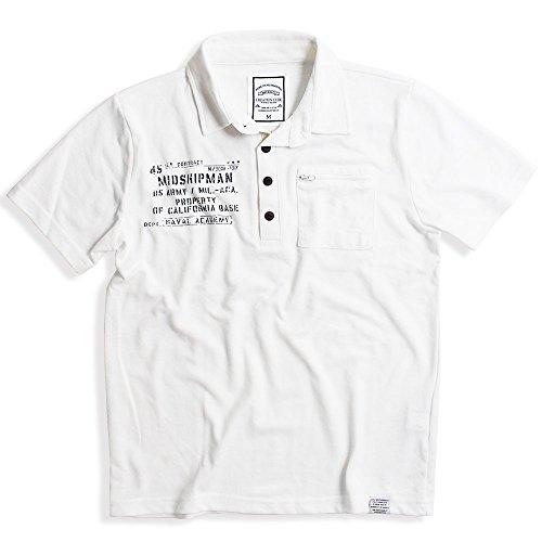 QUINTETTO(クインテット) ミリタリー 半袖 ポロシャツ メンズ 鹿の子 カジュアル ゴルフ ビジネス 21-8403-205 (L, 20,ホワイト(WHITE))