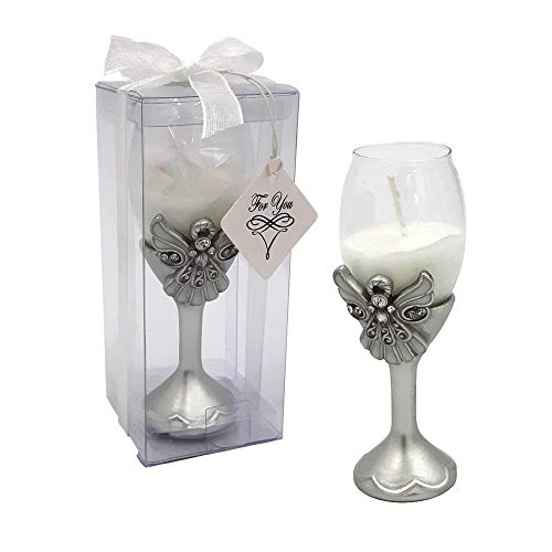 Fashioncraft Memorial Angel Candle Holder Set of 30, Champagne Wax Filled, for Sympathy Gifts - Pewter