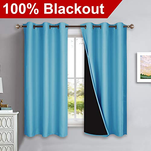 NICETOWN 100% Blackout Curtains with Black Liners, Thermal Insulated Full Blackout 2-Layer Lined Drapes, Energy Efficiency Window Draperies for Bedroom (Teal Blue, 2 Panels, 42-inch W by 63-inch L)