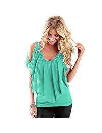 Tenworld Women Summer Irregular Chiffon Blouse Off Shoulder T Shirt Tops