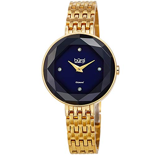 Burgi BUR253 Designer Women's Watch - 4 Diamond Markers with Solid Stainless Steel Bracelet Butterfly Buckle (Yellow Gold/Blue)