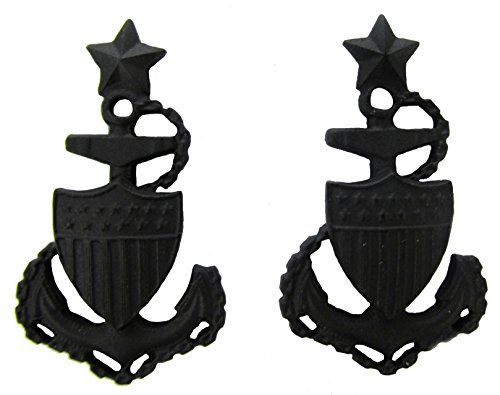 Guard Officer Rank Coast (Coast Guard Black Metal Pin-On Rank - E-8 SCPO - Pair)