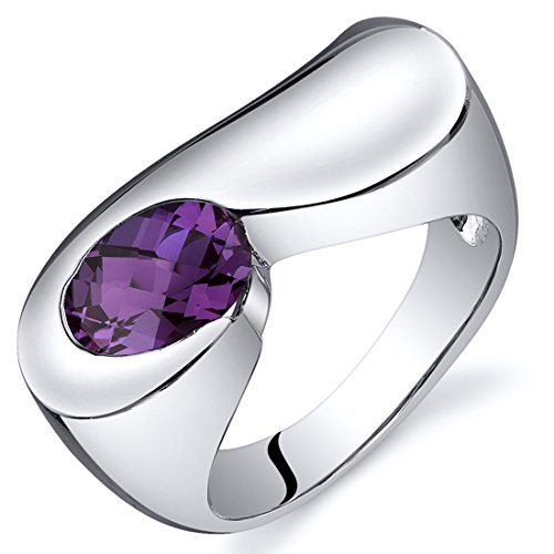 Simulated Alexandrite Museum Ring Sterling Silver Rhodium Nickel Finish 1.75 Carats Sizes 5 to 9
