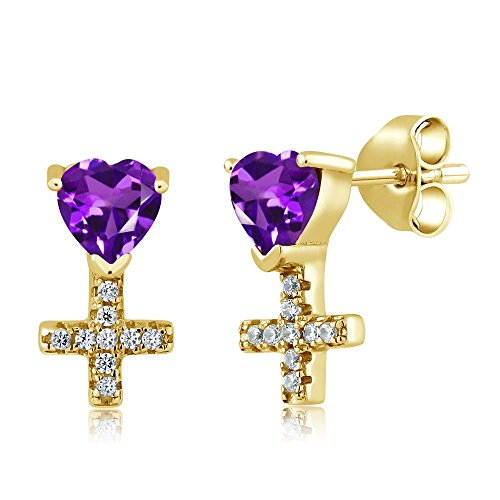 1.02 Ct Heart Shape Purple Amethyst 18K Yellow Gold Plated Silver Cross ()