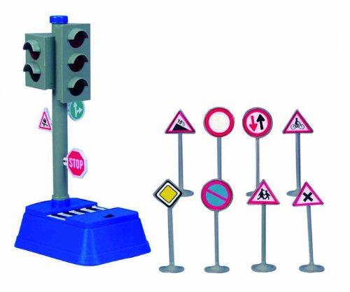 Dickie Toys 203741001 - City Traffic, batteriebetriebene Verkehrsampel mit Verkehrsschildern, 24 cm