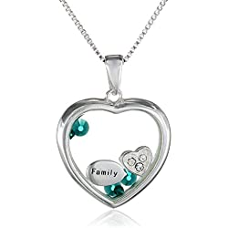 Sterling Silver Crystal 'Family' Looking Glass Heart Sentiment Necklace