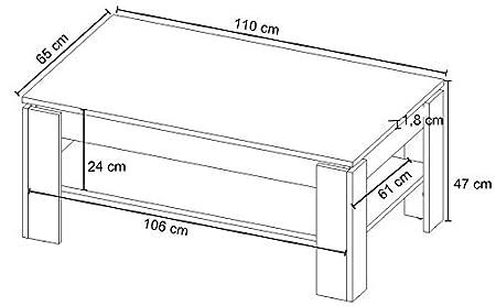 trendteam Mesa de centro Mesa de salón Universal, 110 x 47 x 65 cm en acabado nogal satinado con repisa
