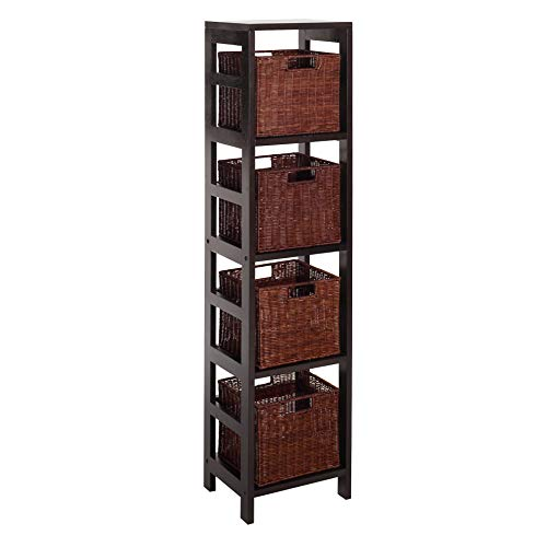 (Winsome Wood Leo Wood 4 Tier Storage Shelf with 4 Small Rattan Baskets)