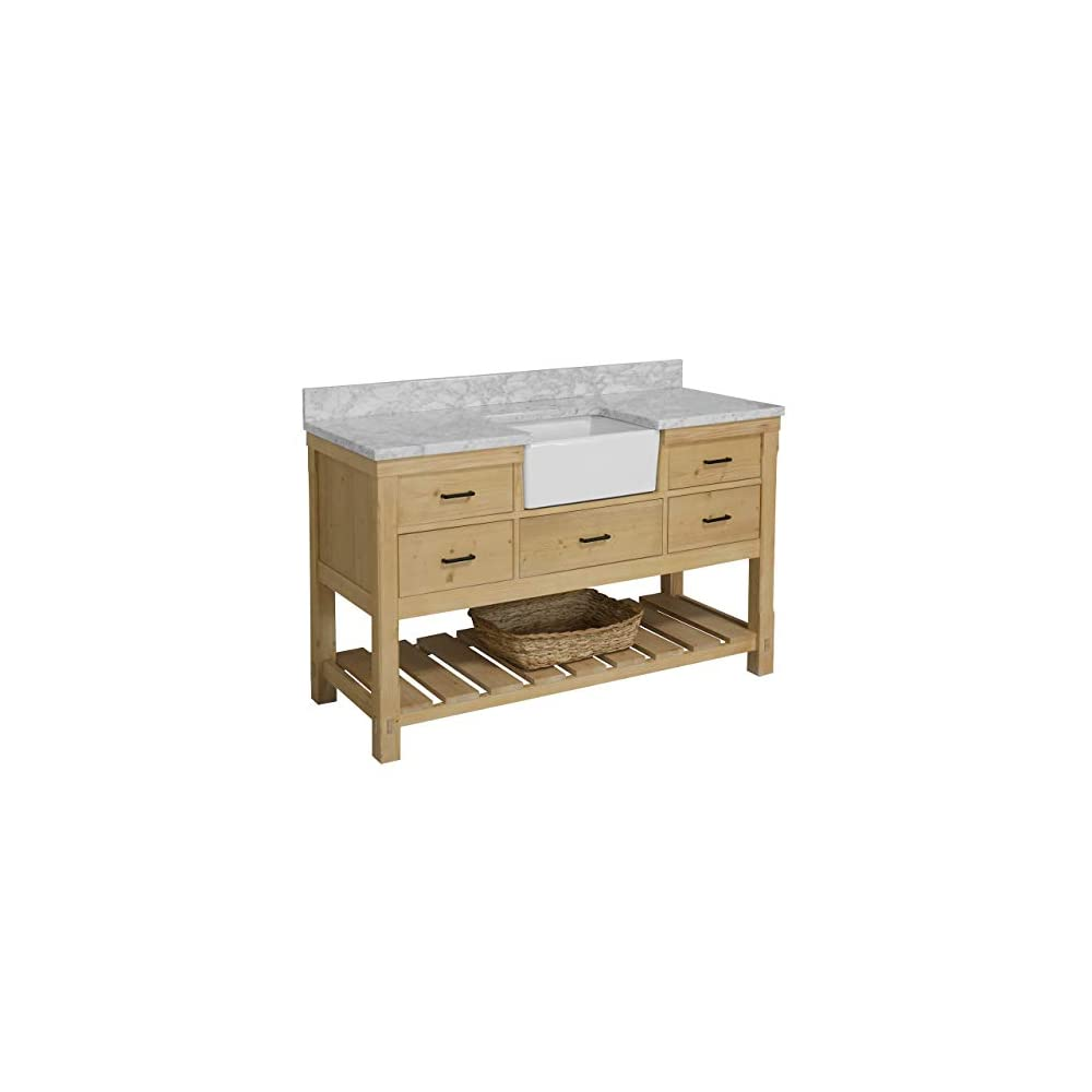 Charlotte 60-inch Single Farmhouse Bathroom Vanity (Carrara/Driftwood): Includes Driftwood Cabinet with Authentic…