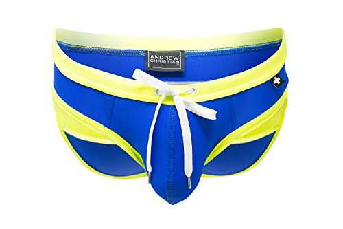 Andrew Christian Almost Naked Boundary Bikini, Royal/Neon Yellow, Medium by Andrew Christian